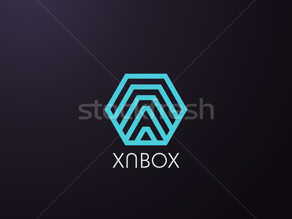 abstract letter A logo template in hexagon polygon box shape. business, logistic, delivery courier,  Stock photo © taufik_al_amin
