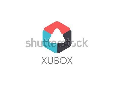 abstract geometric triangle in hexagonal cube box logo icon for corporate business, apps, data techn Stock photo © taufik_al_amin