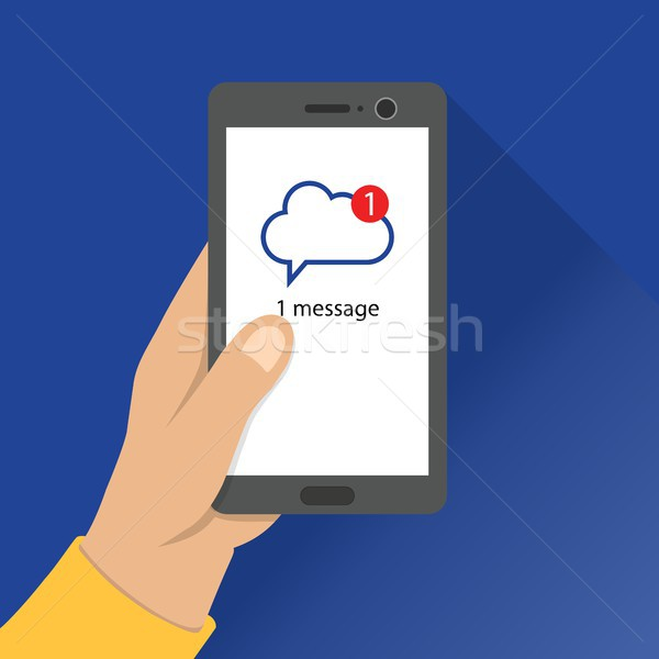 Message notification. mail message received on smartphone. Cloud chatting Application. Stock photo © taufik_al_amin
