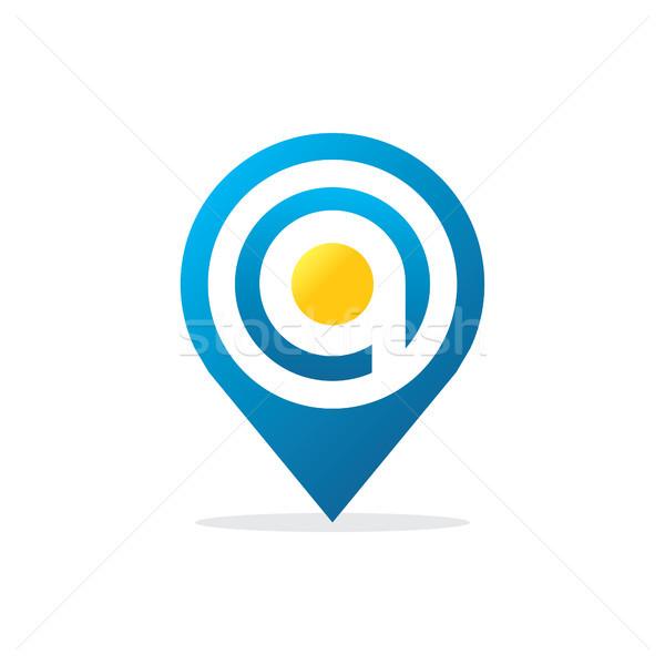 Lettera pin logo icona terra rete Foto d'archivio © taufik_al_amin