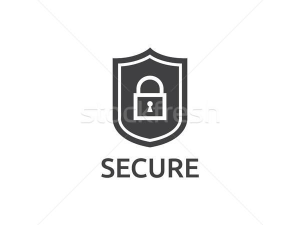 Scudo line icona internet sicurezza vettore Foto d'archivio © taufik_al_amin