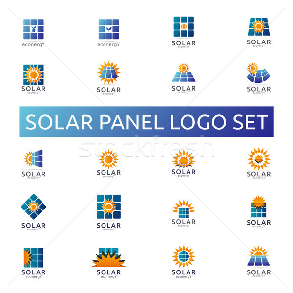 Solar panel energy logo set. business green energy concept desig Stock photo © taufik_al_amin