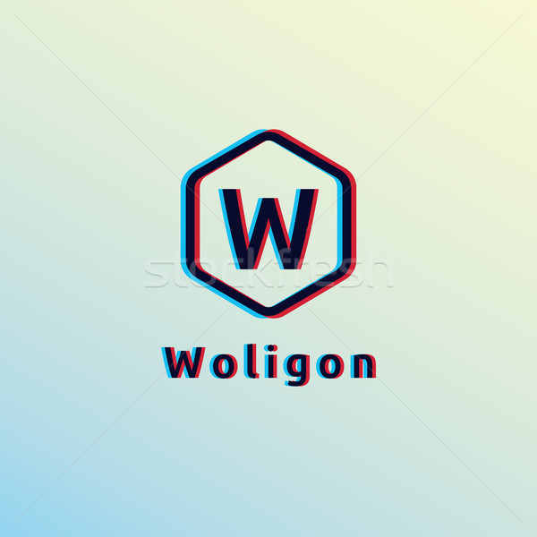 initial letter W Logo. hexagon shape with glitch effect design concept vector illustration Stock photo © taufik_al_amin