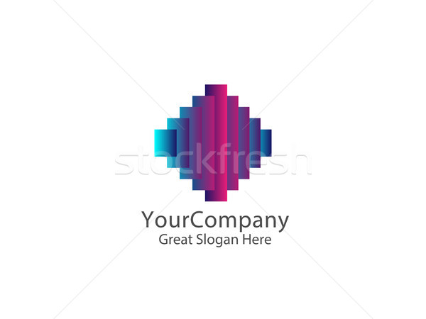 Stock photo: sound equalizer logo symbol. abstract square signal curve concep