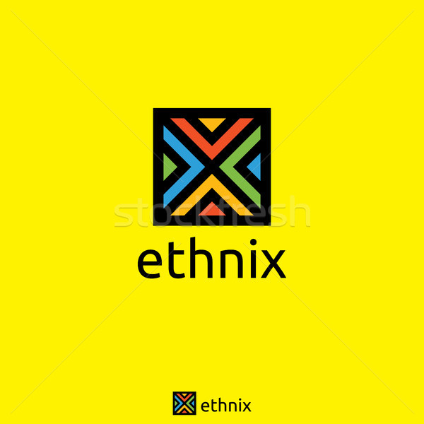 initial Letter X logo. Square cube shape. Ethnic and education Concept Stock photo © taufik_al_amin