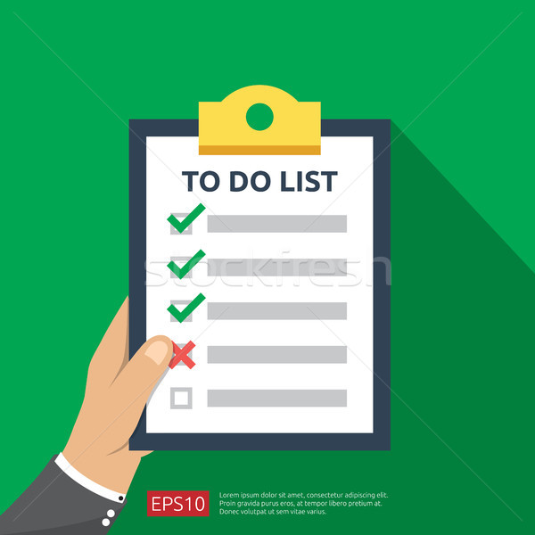 hand holding to do list or planning in flat style icon. vector illustration concept of checklist pap Stock photo © taufik_al_amin