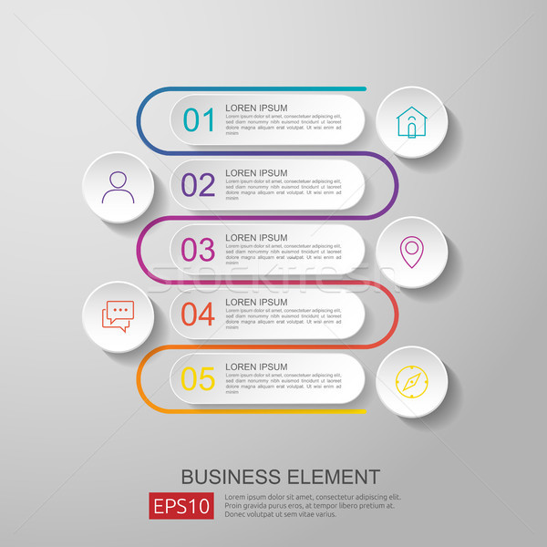 infographics timeline element with 3D paper label, integrated circles. Business concept with options Stock photo © taufik_al_amin
