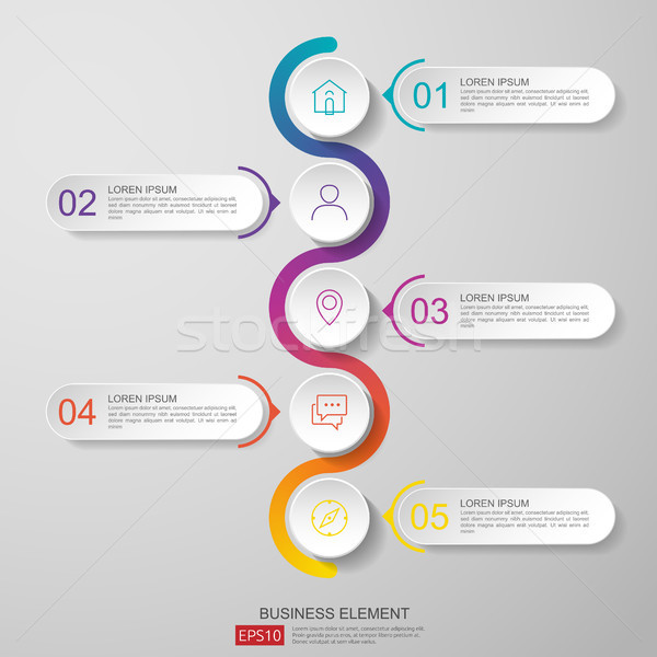 infographics timeline design template vector with 3D paper label, integrated circles. Business conce Stock photo © taufik_al_amin