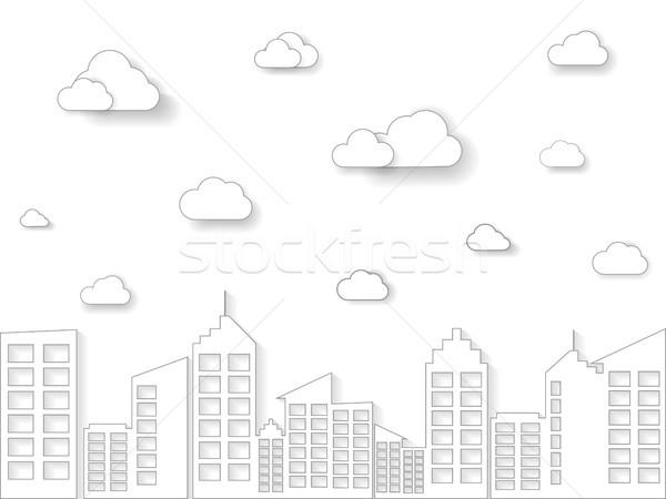 Nuage bâtiment linéaire style léger ligne Photo stock © taufik_al_amin