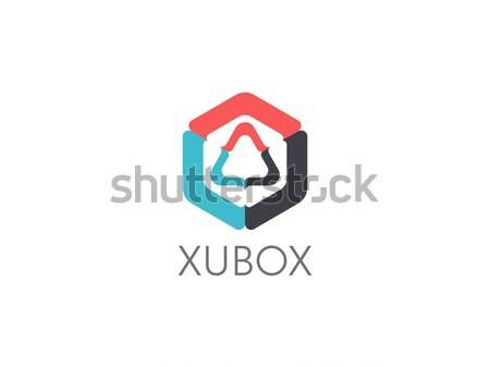 Stok fotoğraf: Soyut · geometrik · üçgen · küp · kutu · logo