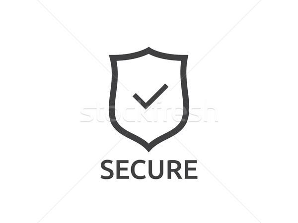 Controleren schild icon symbool beveiligde bescherming Stockfoto © taufik_al_amin