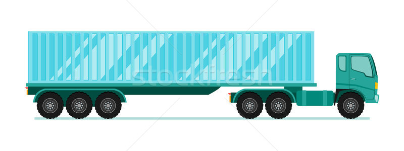 Truck trailer with container. long vehicle with flat design styl Stock photo © taufik_al_amin