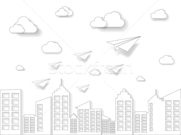 plane flying on white sky with cloud and building. illustration of business and leadership concept.  Stock photo © taufik_al_amin