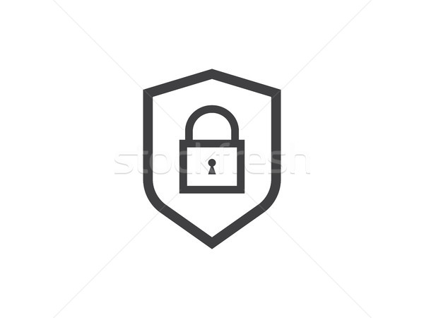 Stock photo: shield line icon, Privacy Data protection and Internet VPN Secur