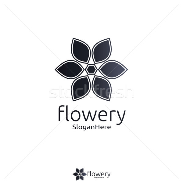 Foto stock: Elegante · flor · logotipo · ícone · vetor · projeto