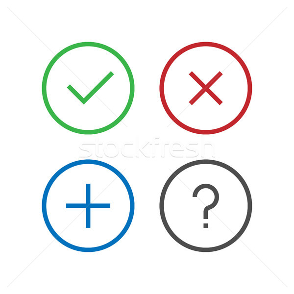 Check, Remove, Delete, Close, Add, Question, FAQ Icon in perfect pixel flat design. Confirm icons se Stock photo © taufik_al_amin