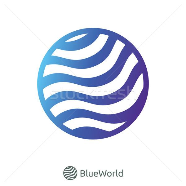 Kék világ hullám logo földgömb absztrakt Stock fotó © taufik_al_amin