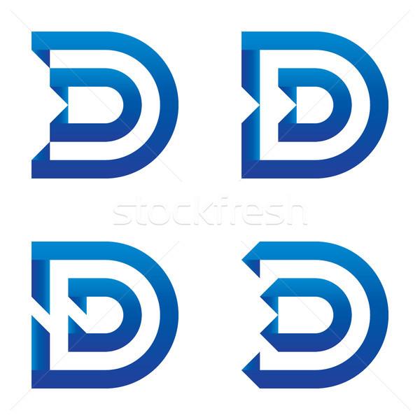 initial letter D logo icon set. clean blue design logo template. Stock photo © taufik_al_amin