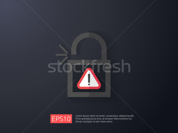 open padlock attention icon with exclamation mark symbol warning alert sign. account access security Stock photo © taufik_al_amin