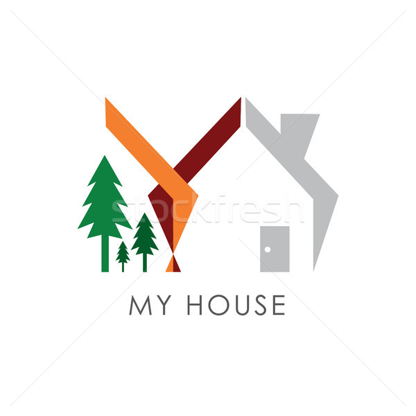 home and trees logo for property or housing business Stock photo © taufik_al_amin