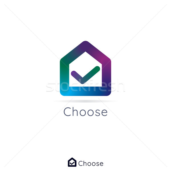 House home logo. check mark in center. simple logo with 3d color Stock photo © taufik_al_amin
