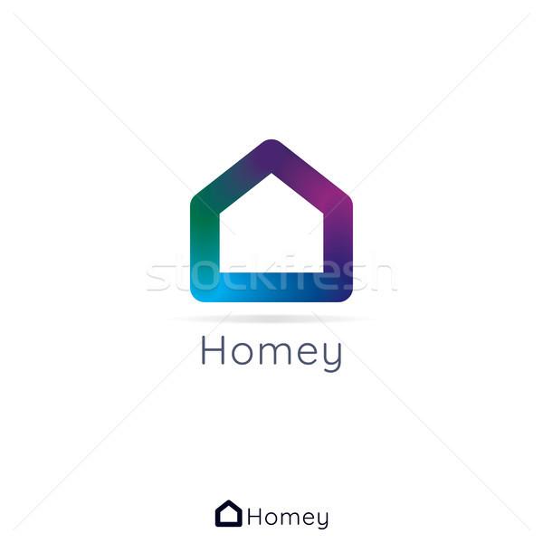 Home casa logo semplice 3D colori Foto d'archivio © taufik_al_amin