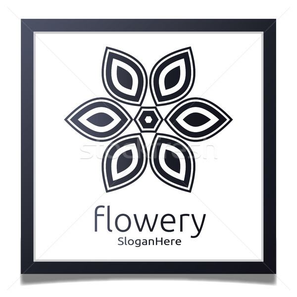 Elegant flower logo icon vector design with gradient black color Stock photo © taufik_al_amin
