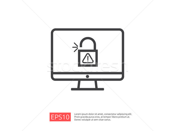 computer PC screen with open padlock attention icon exclamation warning alert sign. account access s Stock photo © taufik_al_amin