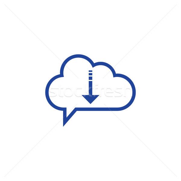 Nuage icône de téléchargement informatique ordinateur internet design Photo stock © taufik_al_amin
