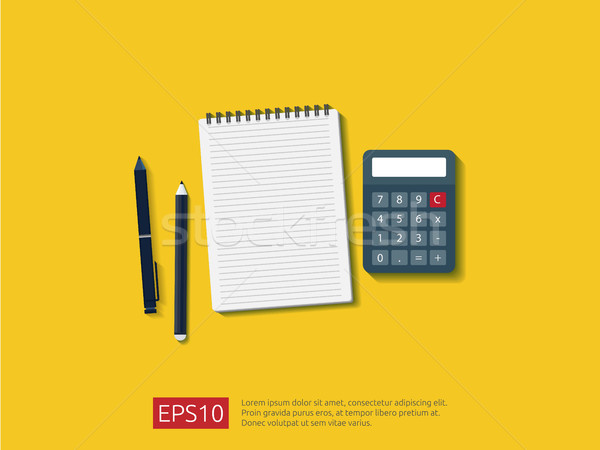 top view of empty note paper sheet with calculator, pencil and pen on workdesk vector illustration Stock photo © taufik_al_amin