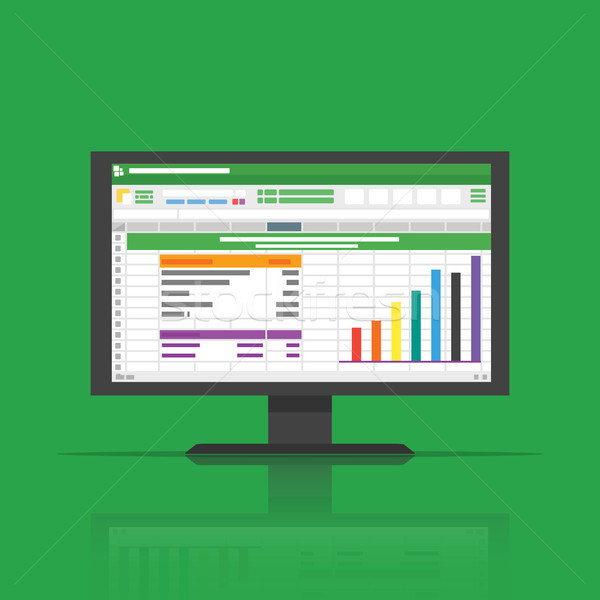 Spreadsheet icon Computer flat vector illustration Stock photo © taufik_al_amin