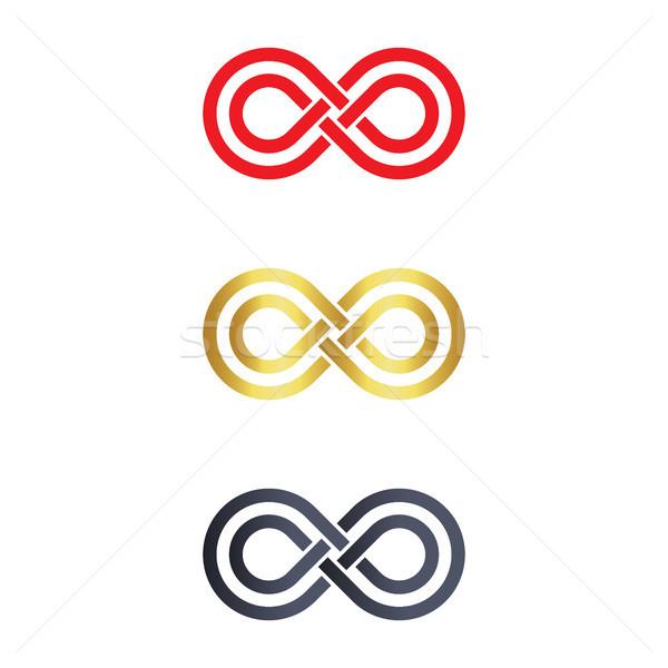 Symbol nieskończoności logo ikona projektu podpisania niebieski Zdjęcia stock © taufik_al_amin