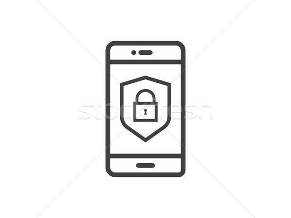 mobile phone shield line icon, Privacy Data protection and Inter Stock photo © taufik_al_amin