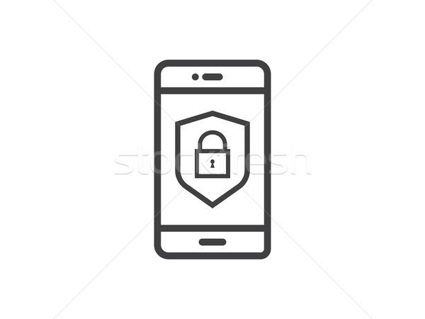 Telefone móvel escudo linha ícone privacidade Foto stock © taufik_al_amin