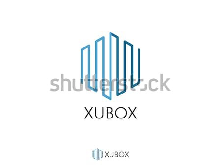 abstract hexagonal for corporate business, city skyline Real Estate, or data box logo icon. symbol t Stock photo © taufik_al_amin