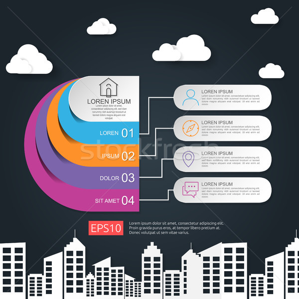 Stock photo: abstract half circle for business concept infographic with cloud and building background. Template f