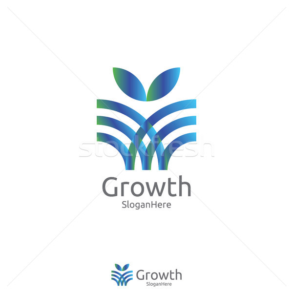 Stock photo: elegant grow leaf or flower logo icon vector design with Green B