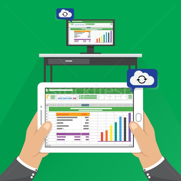 Spreadsheet icon tablet Computer flat style vector illustration. hand holding phone tablet with clou Stock photo © taufik_al_amin