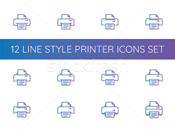 printer symbol icons set. pixel perfect outline line style templ Stock photo © taufik_al_amin