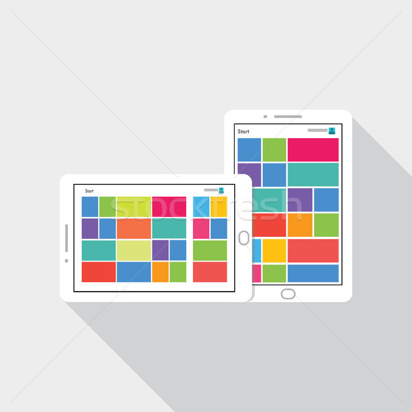 Phone tablet icon with tile user interface on screen. flat style vector illustration. Stock photo © taufik_al_amin