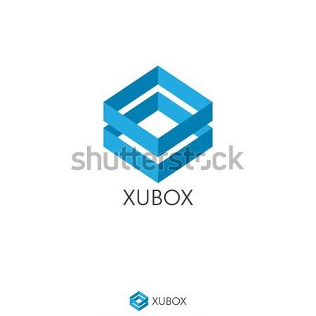 simple dual blue box logo concept. double shape. Logo Template w Stock photo © taufik_al_amin