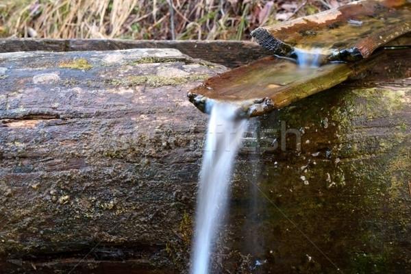 Hout kanaal voorjaar houten water bergen Stockfoto © taviphoto