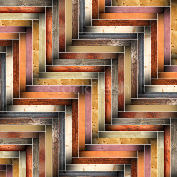 many different wood tiles forming floor design Stock photo © taviphoto