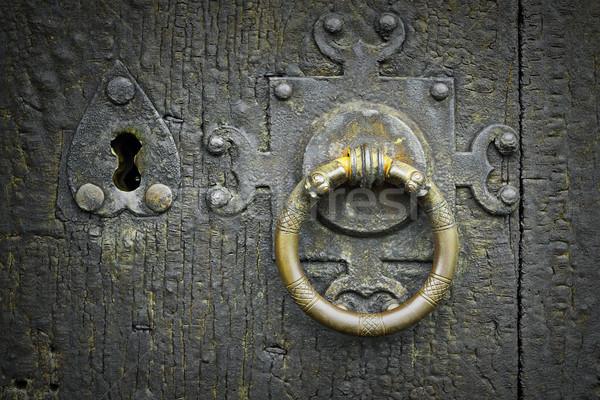 old metalic latch on wooden door Stock photo © taviphoto