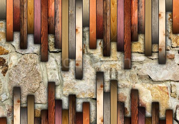 Ahşap zemin kırık taşlar yüzey doku inşaat Stok fotoğraf © taviphoto