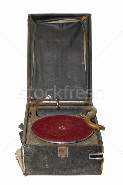 Anciens isolé Turntable blanche vieux lecteur de musique Photo stock © taviphoto