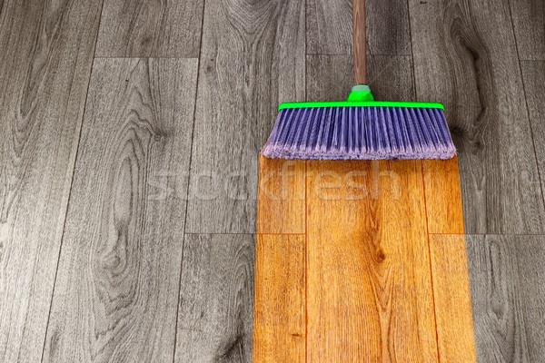 Stockfoto: Uit · houten · groene · plastic · bezem · interieur
