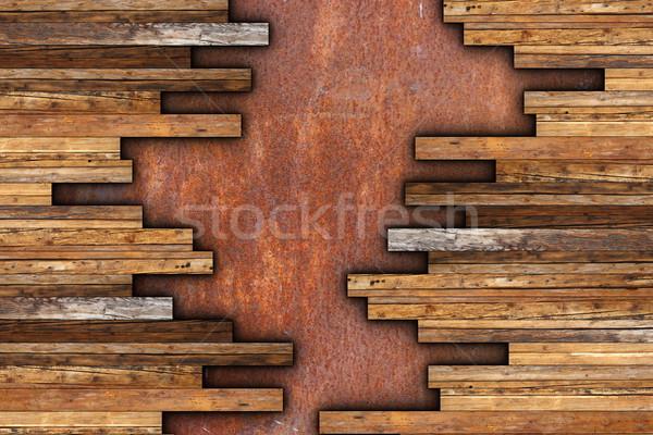 Mahagóni fémes rozsdás viharvert fa építkezés Stock fotó © taviphoto