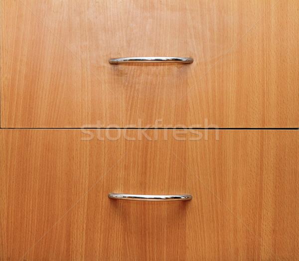 Photo stock: Détail · deux · tiroirs · bois · métal · texture