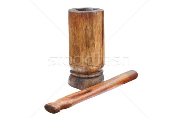 Eski ahşap öğütücü yalıtılmış beyaz Stok fotoğraf © taviphoto